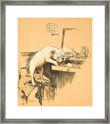 Left Alone In Her Dressing Room Framed Print by Cecil Charles Windsor Aldin