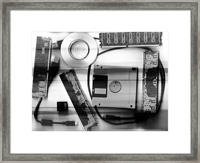 Leftover Tech - Black And White Framed Print