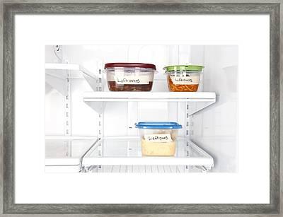 Leftovers In Refrigerator Framed Print