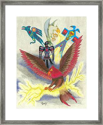 Legend Of The Thunderbird Framed Print by Lew Davis