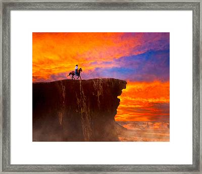 Legends Of The Wild West Sunset Framed Print