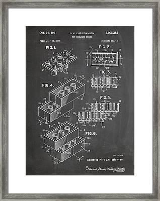 Lego Blocks Patent Art Chalkboard Framed Print by Stephen Chambers
