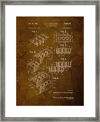 Lego Brick Vintage Patent On Worn Canvas Framed Print by Design Turnpike