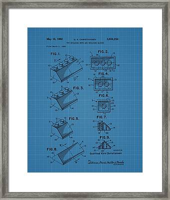 Lego Building Blocks Blueprint Patent Framed Print