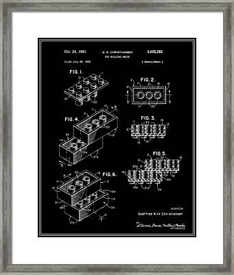 Lego Building Brick Patent - Black Framed Print
