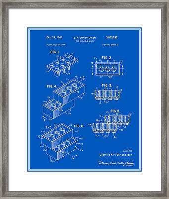 Lego Building Brick Patent - Blueprint Framed Print