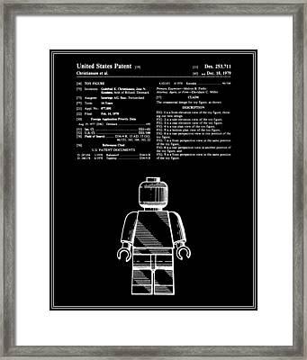 Lego Man Patent - Black - Version One Framed Print