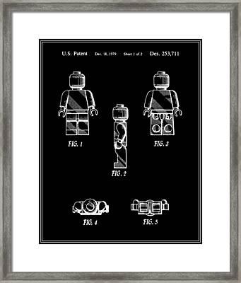 Lego Man Patent - Black - Version Two Framed Print