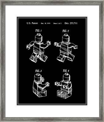 Lego Man Patent - Black - Version Three Framed Print