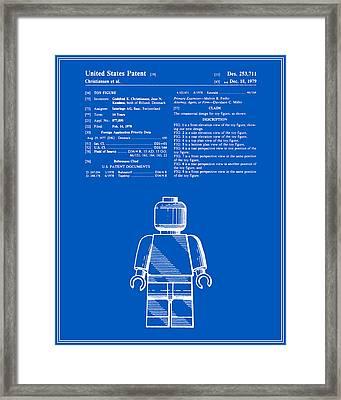 Lego Man Patent - Blueprint - Version One Framed Print