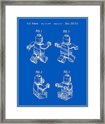Lego Man Patent - Blueprint - Version Three Framed Print