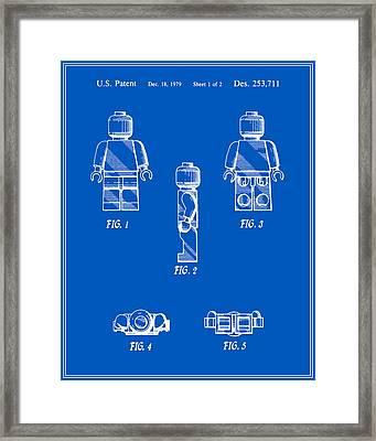 Lego Man Patent - Blueprint - Version Two Framed Print