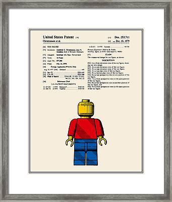 Lego Man Patent - Colour - Version One Framed Print