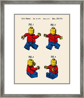 Lego Man Patent - Colour - Version Three Framed Print