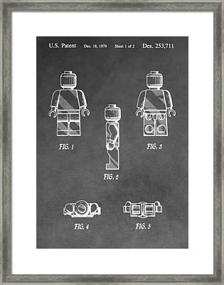 Lego Minifig Patent Framed Print by Dan Sproul