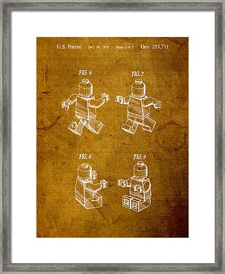 Lego Minifig Vintage Patent 2 On Worn Canvas Framed Print by Design Turnpike