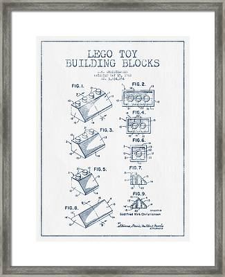 Lego Toy Building Blocks Patent - Blue Ink Framed Print by Aged Pixel