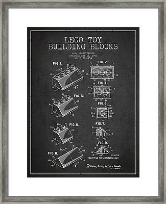 Lego Toy Building Blocks Patent - Dark Framed Print by Aged Pixel