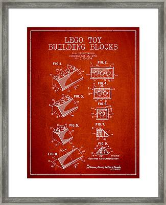 Lego Toy Building Blocks Patent - Red Framed Print by Aged Pixel