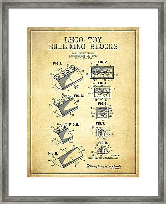 Lego Toy Building Blocks Patent - Vintage Framed Print by Aged Pixel