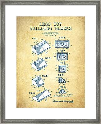 Lego Toy Building Blocks Patent - Vintage Paper Framed Print by Aged Pixel