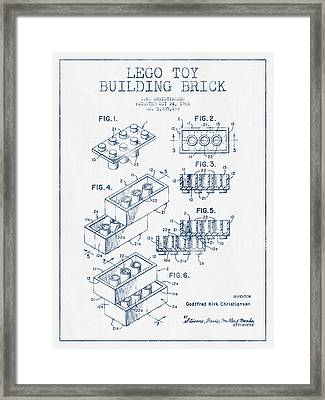 Lego Toy Building Brick Patent - Blue Ink Framed Print by Aged Pixel