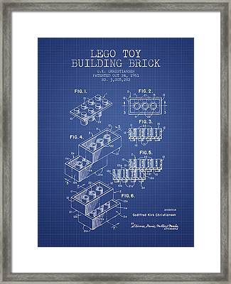 Lego Toy Building Brick Patent From 1961 - Blueprint Framed Print