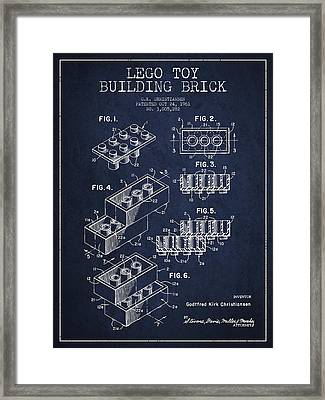 Lego Toy Building Brick Patent - Navy Blue Framed Print by Aged Pixel