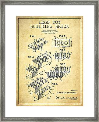 Lego Toy Building Brick Patent - Vintage Framed Print by Aged Pixel
