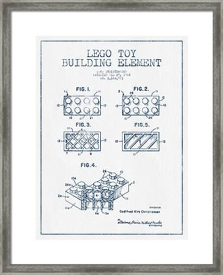 Lego Toy Building Element Patent - Blue Ink Framed Print by Aged Pixel