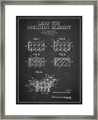 Lego Toy Building Element Patent - Dark Framed Print by Aged Pixel