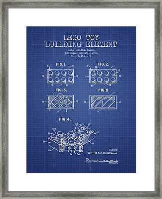 Lego Toy Building Element Patent From 1964 - Blueprint Framed Print