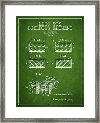 Lego Toy Building Element Patent - Green Framed Print by Aged Pixel