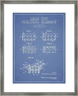 Lego Toy Building Element Patent - Light Blue Framed Print