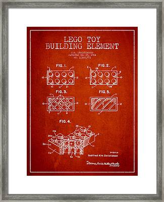 Lego Toy Building Element Patent - Red Framed Print by Aged Pixel