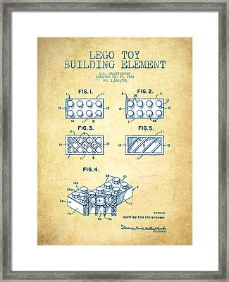 Lego Toy Building Element Patent - Vintage Paper Framed Print by Aged Pixel