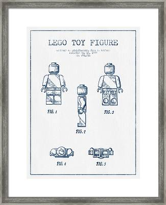 Lego Toy Figure Patent - Blue Ink Framed Print by Aged Pixel