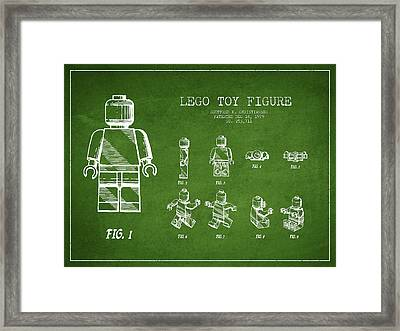 Lego Toy Figure Patent Drawing From 1979 - Green Framed Print by Aged Pixel