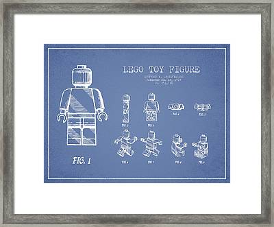 Lego Toy Figure Patent Drawing From 1979 - Light Blue Framed Print by Aged Pixel