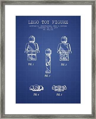 Lego Toy Figure Patent From 1979- Blueprint Framed Print by Aged Pixel