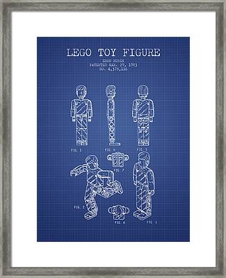 Lego Toy Figure Patent From 1983- Blueprint Framed Print