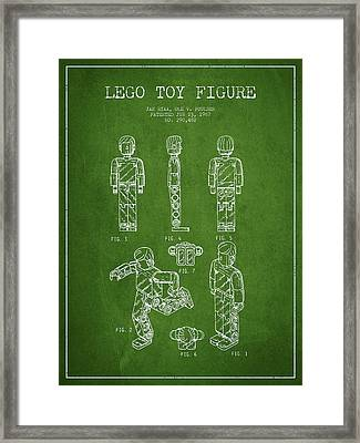 Lego Toy Figure Patent - Green Framed Print by Aged Pixel
