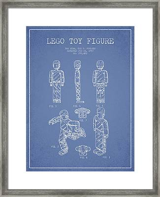 Lego Toy Figure Patent - Light Blue Framed Print by Aged Pixel