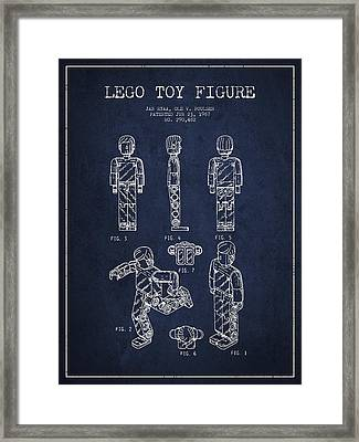 Lego Toy Figure Patent - Navy Blue Framed Print by Aged Pixel