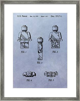 Lego Toy Patent Framed Print by Dan Sproul