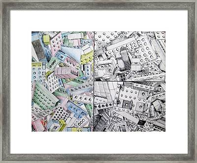 Lego Tryptic Framed Print by Caitlin Mitchell