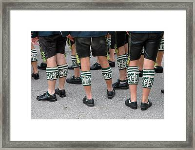 Legs Of Men With Traditional Bavarian Half Stockings Framed Print