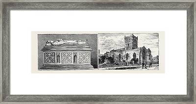Leicester Bishop Pennys Tomb In St. Margarets Church Left St Framed Print by English School