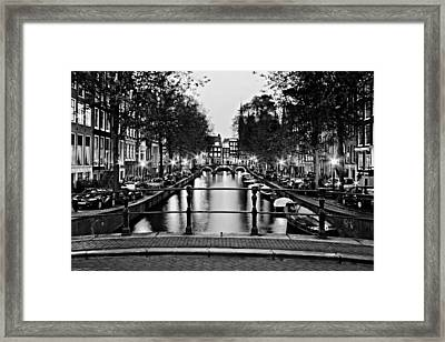 Leidsegracht Canal At Night / Amsterdam Framed Print