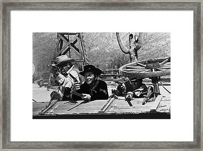 Leif Erickson Cameron Mitchell Mark Slade Attacking Apaches 1 High Chaparral Old Tucson 1969-2009 Framed Print by David Lee Guss